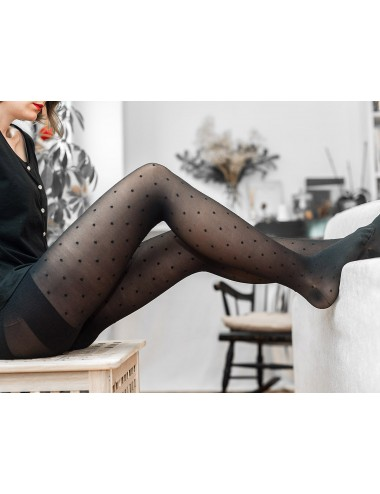 The perfect tights - resistant, shaping, light compression, black with dots