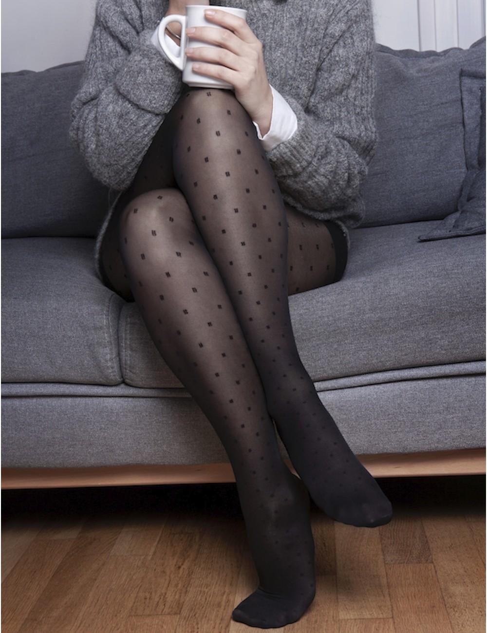 Le collant jambes légères - glamour, doux, confortable motif plumetis carrés