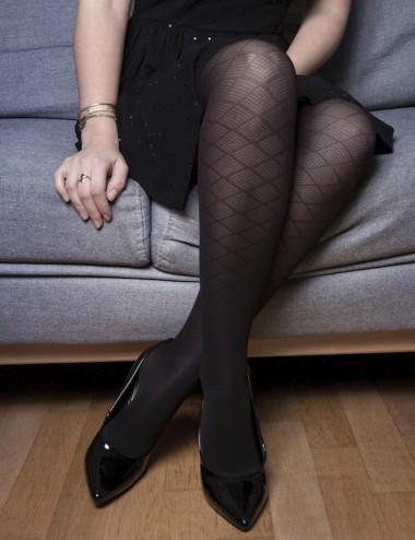 Le collant jambes légères - glamour, doux, confortable motif losanges