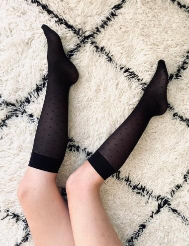 Les mi-bas parfaits - jambes légères, confortables, non comprimant, noirs avec motifs petits carrés